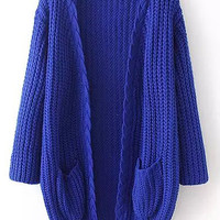 Blue Long Sleeve Knit Pockets Cardigan