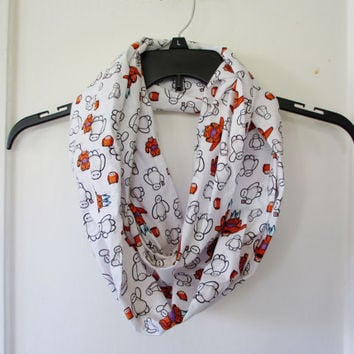 Disney Big Hero 6 Baymax Cartoon Print White Infinity Scarf