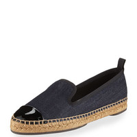 Fendi Junia Denim Cap-Toe Espadrille Flat, Black