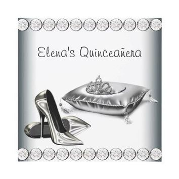 High Heel Shoes Princess Tiara White Quinceanera Personalized Invite from Zazzle.com