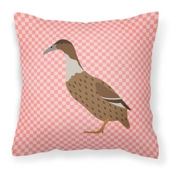 Dutch Hook Bill Duck Pink Check Fabric Decorative Pillow BB7861PW1818