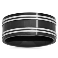 Black Ion-Plated Stainless Steel Double Row Men's Wedding Band