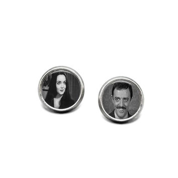 Morticia and Gomez Addams 12mm Stainless Steel Stud Earrings Handmade