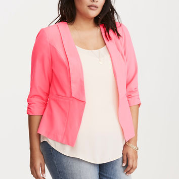 Crepe Ruched Sleeve Blazer