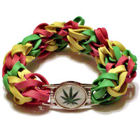 Pot Leaf Charm Rubber Band Bracelet - Jamaica Rasta Colors - Legalize Marijuana Cause, Jamaican Colors, Cannabis Culture 4:20