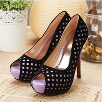 Hollow Out Peep Toe Pumps for Women