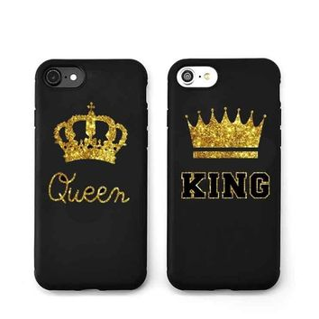 Trendy New Arrival King Queen Hard Plastic Ultra Thin Back Covers for Apple iPhone 7plus 6 6s 5 5s Luxury Crown Slim Phone Cases Shell AT_94_13