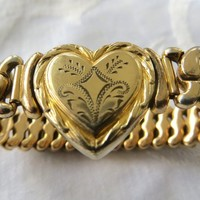 Gold Filled Sweetheart Bracelet, Etched Heart, Signed Carl Art, Expansion Bracelet, 1940s Bracelet
