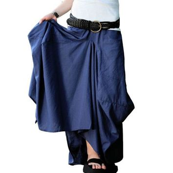 DCCKDZ2 Long Skirt 2016 Saias Femininas Solid Skirts Womens Original Design Long Big pocket Casual Linen Skirt saia longa Maxi Skirt