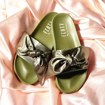 PUMA fenty rihanna silk slides sneakers-spring-Bow Slide Sandals Shoes 10-color Army green