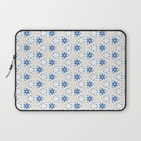 Acrylic Blue Floral Triangles Laptop Sleeve by Doucette Designs