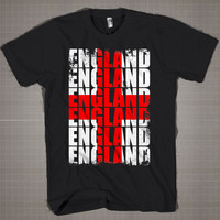 ENGLAND Flag Typography  Mens and Women T-Shirt Available Color Black And White