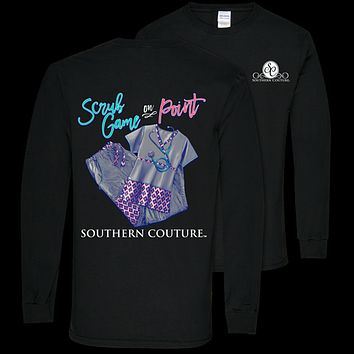 Southern Couture Preppy Scrub Game on Point Nurse Long Sleeve T-Shirt