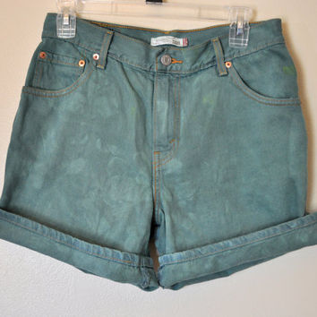 VINTAGE Levi's SHORTS - Hand Dyed Green Urban Style Denim High Rise Vintage Shorts - Misses Size 10 (30)