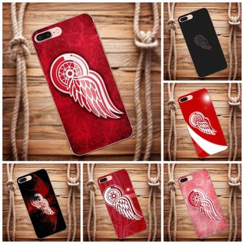 Vvcqod Pattern Hard Phone Case For iPhone 4 4S 5 5C 5S SE 6 6S 7 8 Plus X For Moto G G2 G3 Red Wings Nhl