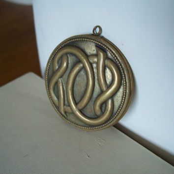Vintage Brass Locket Large Size Unusual Serpentine Design