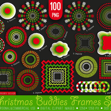 100 PNG Christmas Buddies Clipart, red white green, Christmas frames labels tags clipart clip art, xmas clipart, winter clipart, xmas