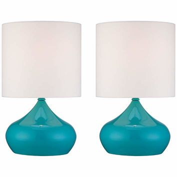 "Set of 2 Steel Droplet 14 3/4""H Teal Blue Small Accent Lamps - #X6637 