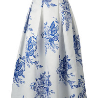 White Floral Leaves Print Midi Skater Skirt