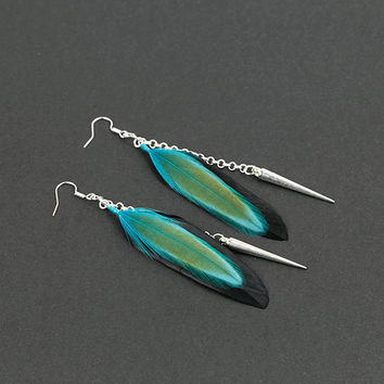 Punk earrings Black earrings Turquoise feathers Witch earrings Ghost Rocker earrings Punk jewellery Silver spike earring Gothic jewelry Goth