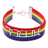 Rainbow Pride Leather Bracelet