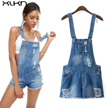 Womens Jumpsuit Denim Overalls 2017 Summer Jumpsuits Rompers Casual Strap Hole Ripped Pockets Shorts Jeans Pocket Coverall AI142