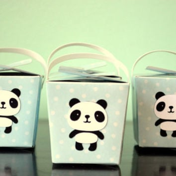 Set of 12 Mini Panda Boy Party Gift Box/Take Out Box