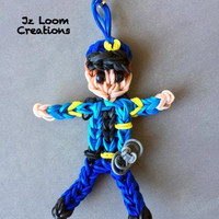 Rainbow Loom Charm Police Officer - Police Wife - Rainbow loom Police man- Loom Charm - Loom Band - Bracelet - Necklace Charm - Rainbow Loom