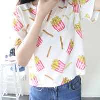 "White ""French Fries"" Print Short Sleeve Shirt"
