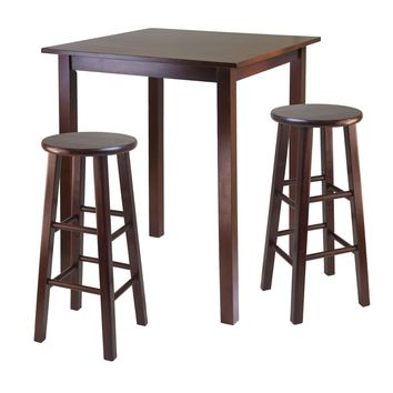 "Parkland 3 Pc High Table with 29"" Square Leg Stools Walnut"