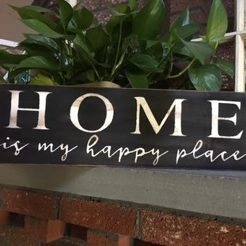 Home is my Happy Place wooden Sign