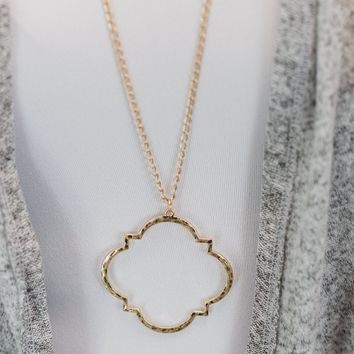 Long Geo Necklace- Gold