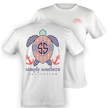 Simply Southern Tees Preppy T-Shirt - Image Of Turtle - Chevron Aztec Anchor Pattern