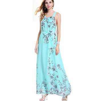 Women Dress Lady Sexy Summer Boho Long Maxi Evening Party Beach Dresses Chiffon Dress Sleeveless CLothes