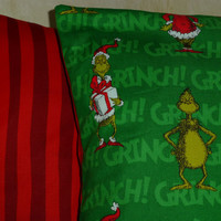 GRINCH PILLoWCasE ENVELoPE STyLE PillOwCOVERS TWo - BoUTIQUE BEAUTiIFUL QUALiITY 17X17 or 16x16 Your Choice Designs by Sugarbear