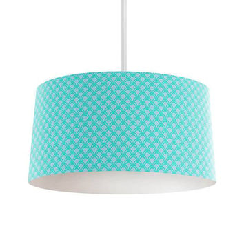 Turquoise and Gray Scales Pendant Lamp