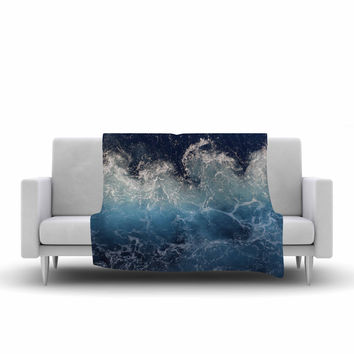 "Suzanne Carter ""Sea Spray"" Navy Ocean Fleece Throw Blanket"