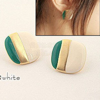 Fashion Square Multicolor Stripes Stud Earring at online cheap fashion jewelry store Gofavor