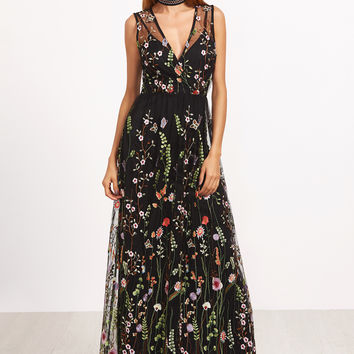 Black Surplice Front Embroidered Mesh Overlay Maxi Dress | MakeMeChic.COM