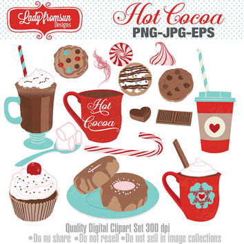 Hot cocoa, chocolate,Candy Cane, peppermint, Winter, Cupcake, Donut, cookie, Coffee,  Clip Art, vector graphics, Commercial-Personal Use