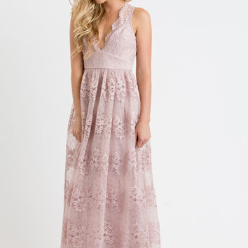 Amber Blush Lace Maxi Dress