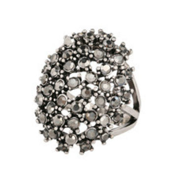 Can Be Paired Vintage Black Crystal CZ Diamond Ring Bohemia Style Plating Silver Aneis Women Statement Jewelry 2016 Fashion