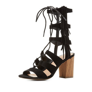 Caged Lace-Up Fringe Sandals