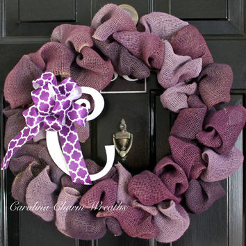 Front Door Wreath, Christmas Wreath, Thanksgiving Wreath, Monogram Wreath, Burlap Wreath, Ombre Wreath, Winter Wreath