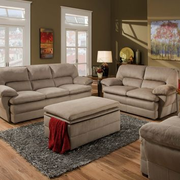 Simmons 6120 Malibu Cocoa Sofa and Loveseat