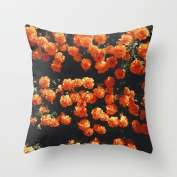 Orange Bloom Throw Pillow by Mixed Imagery