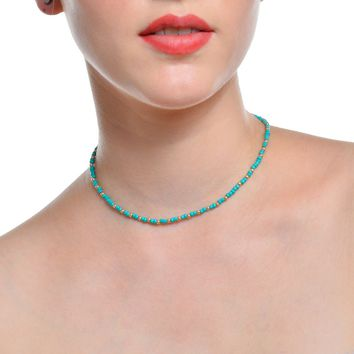 171124 Bohemia Retro Minimalist Necklace Handmade Beaded TURQUOISE CRYSTAL NECKLACE C1498