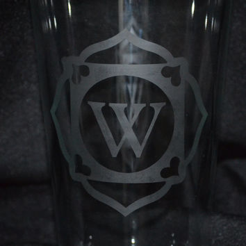 Monogrammed Etched Pint Glasses - 16 ounce - Custom Pint Glass - Custom Glasses - Glassware - Personalized Beer Glass - Monogram - Initial