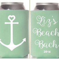 Bachelorette Beach party weekend can coolers, anchor theme bachelorette party, beach bach, can cozy, can coolies bachelorette party, girls