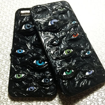 handmade goth black horror cult scared cream trypophbia eyes phone case iphone5/5s